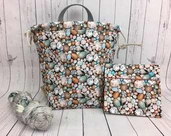 Bird Eggs Bucket Bag AND Notions Case set, Knitting project bag, Crochet project bag,  Zipper Project Bag, Yarn bowl