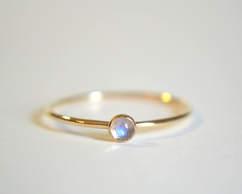 Rainbow Moonstone Ring White Gold