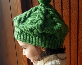 Khaki green beret knitting pattern