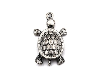 Pewter, Antique Silver Turtle Charm -1