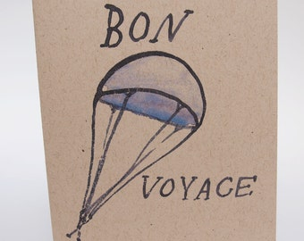Greeting Card-  Bon Voyage parachute