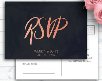 Rose Gold Wedding RSVP, Enclosure Card, Wedding Insert Card, Response Card, Wedding RSVP Template, Personalized Wedding Printable