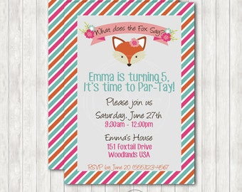 Fox Printable Birthday Invitation