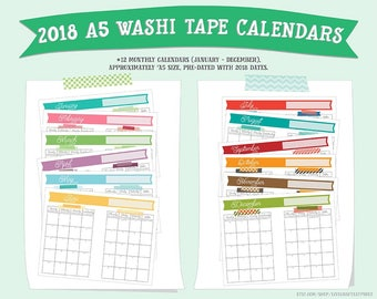 2018 A5 Washi Tape Printable Calendars