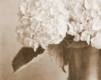 Sepia Flower Print or Canvas Art, Sepia Flower Print, Sepia Hydrangea, Nature Print, Vintage Toned Flower Print, Vertical Portrait.