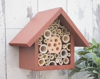 Mason Bee House and Insect Home, One Tier, in 'Deep Russet'. Can be personalised