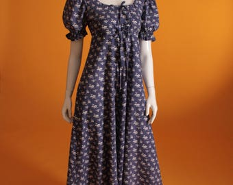 Vintage 1960's /1970's 'Laura Ashley Made in Wales' Regency Style, Empire Line,Puff Sleeve,Floral Cotton Maxi Dress UK Size 8 US Size 4