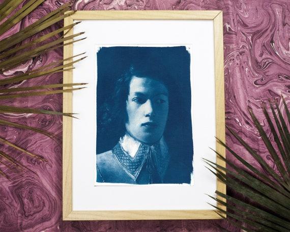 Portrait of Boy from De La Tour, Cyanotype Print on Watercolor Paper, A4 size (Limited Edition)
