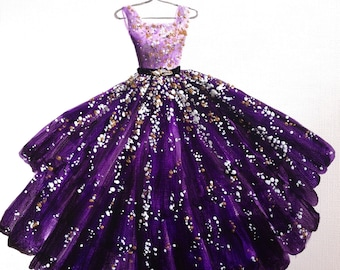 Fashion Illustration, Evening Gown, Fashion Sketch, Fashion Print, Dress Painting, Purple Dress, Party Dress, Purple Gown.