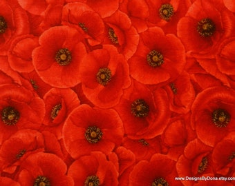 """One Fat Quarter Cut Quilt Fabric, Stacked Bright Red Poppies, """"Tuscan Poppies"""" by CHONG-A HWANG 4 Timeless Treasures, Sewing-Quilt Supplies"""