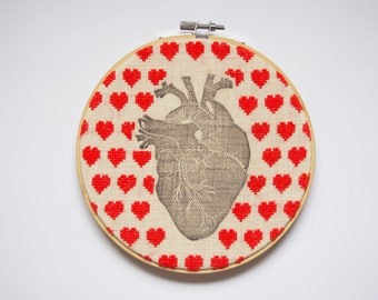 Frame with embossing and embroidery heart