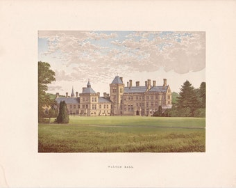 """Antique Woodblock Print - """"Walton Hall""""  - 1880 English Country House - Home Decor Print to Frame, Stately Home, Warwickshire, England"""