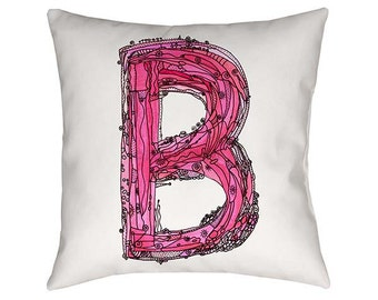 Letter B, Pillow, Whimsical Pillow, pillows, Art, Decorative Pillow, Artsy, pillows personalized, typography, Alphabet Pillow, funky pillow