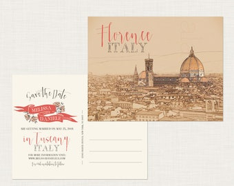 Tuscany Florence Italy Europe Save the Date postcard Illustration sketch drawing - Deposit Payment