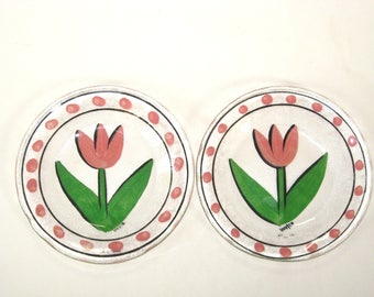 2 Kosta Boda TULIPA Accent Side Salad Plates w/ Label - Pink Tulip Signed Ulrica Hydman-Vallien
