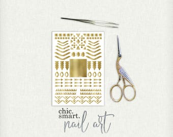 Aztec Nail Decals 01 : Vinyl Nail Decals - 32 Color Choices