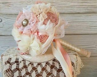 Bridesmaids bouquet, small bridal bouquet, blush bouquet, ivory blush wedding bouquet, fabric flowers bouquet, peach bouquet