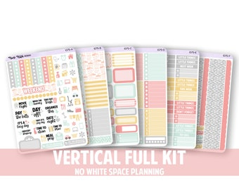1075-FK // VERTICAL 6 Piece Full Kit - No White Space Planning // Dance in the Rain Collection // Planner Stickers