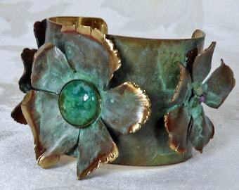 Patina Flower Brass Cuff Bracelet with Genuine Stone