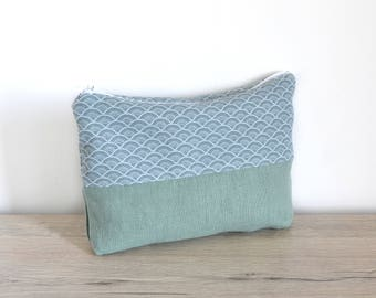 Package of linen and cotton green print