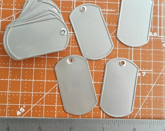 Blank Dog Tags Stainless Steel Military Style, rolled edge. Matte finish.