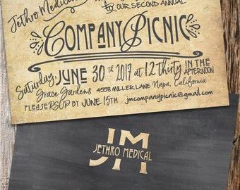 Company Party Invitation, Corporate Invitation, Company Picnic Invitation, Business Party Invitation, Vintage Company Dinner Invitation