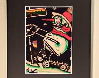 Snowman  Framed Wall Art, Steam Punk, Cosmic Moose Art, Steam Punk Art, Whimsical Art, Winter Decor, Snowman Decor, Art, Freaking Frosty