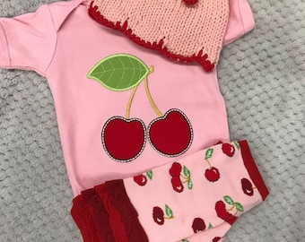 Beautiful 3 piece cherry set,  matching embroidered onesie with matching knitted hat and leg warmers