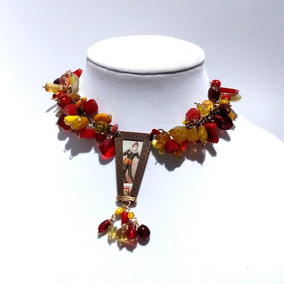 Jump For Joy Necklace with Red and Yellow Chunky Glass Beads