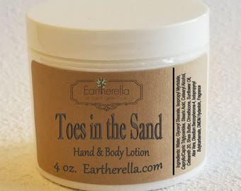 Eartherella TOES in THE SAND Hand and Body Lotion Jar 4 oz.