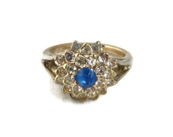 Vintage Cocktail Ring, Sapphire Glass Ring, Blue Rhinestone Ring, White Rhinestone Ring, Gold Plated Retro Jewelry, Multistone Ring