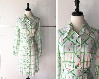 70s womens spring dress | vintage long sleeve dress | 70s shirt dress | womens floral button down dress