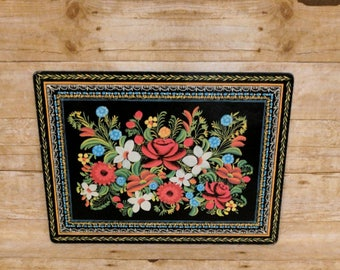 Vintage Floral Tray Wood 70s 60s 13 x 18