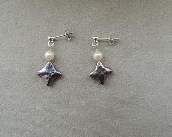 Silver earrings freshwater soft blue diamonds