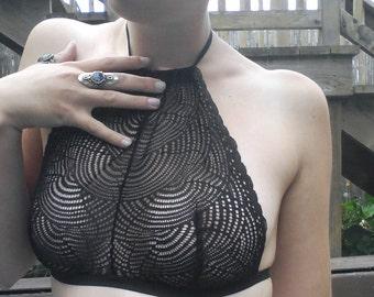 Strappy High-Neck Halter Bralette in Black Spiral Lace