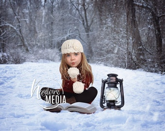 Baby, Toddler, Child, White Winter Trees in Forest with Story Book, Photography Digital Backdrop Prop for Photographers - Instant JPG