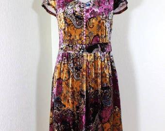 Vintage VERSACE Jeans Couture Purple Velour Velvet Dress Small 2 3 4 New NWT