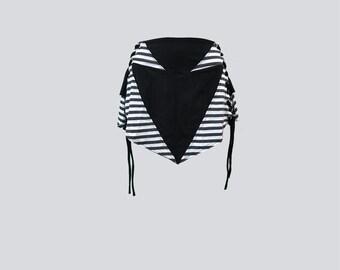 KYANITE SKIRT [ festival skirt  . pixie skirt . mini skirt . rave skirt . rave clothing . rave . striped skirt . high low ]