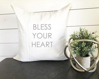 Bless Your Heart Pillow, Throw Pillow, Decorative Pillow, Home Decor, Gift Present, Blessed Pillow Cover, 18x18 Pillow Cover, Blessed Pillow