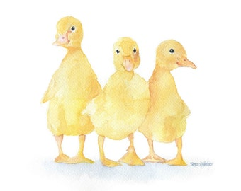 Three Ducklings Watercolor Painting 7 x 5 - Giclee Print - Fine Art print - Nursery Art