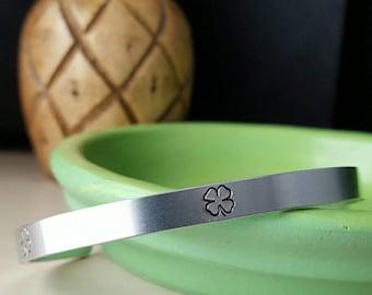 Lucky Clover handstamped aluminum cuff bracelet, Irish, lucky, minimalist