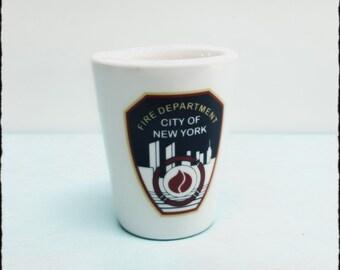 FDNY New York Fire Department Ceramic Shot Glass