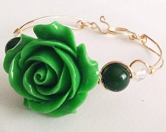 Green Carved Rose Emerald Moonstone Handmade Bangle Bracelet