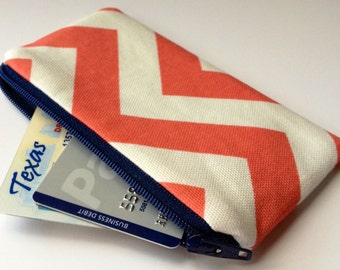 Zippered Coin Purse Wallet - Fabric Business Card Holder - Coral Chevron Stripes
