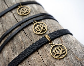 Black Leather Lotus Flower Choker Necklace - Lotus Choker - Brass Lotus Charm Choker - Yoga Gift - Lotus Flower Jewelry - Recycled Jewelry