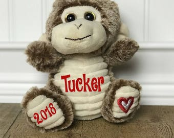 Personalized Valentines gift, Valentines, personalized monkey, Valentines stuffed animal, monkey, Stuffed monkey, Stuffed animal