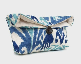 Dark Blue, Light Blue Ikat Clutch Purse, Bridesmaid Gift, Travel Makeup Bag, Gift for Her, Mom, Girlfriend, Wife, Christmas Gift Under 15