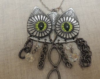 Green Eyed Owl Necklace