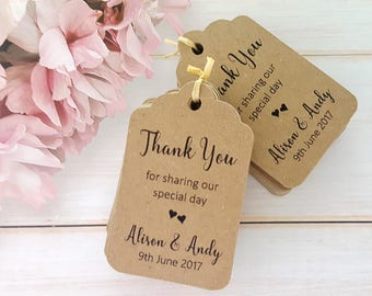 10 Personalised Wedding Favour Tags, Thank you - Scalloped Luggage Shaped Tag - White, Ivory Cream, Kraft