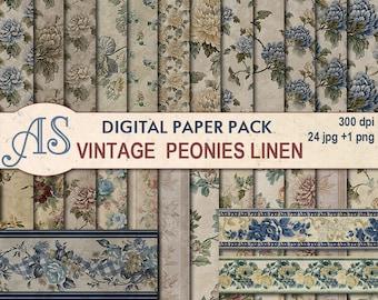 Digital Vintage Peonies Linen Paper Pack,24 printable Digital Scrapbooking papers,3 borders, Floral Digital Collage, Instant Download, set 3